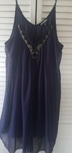 Express purple beaded dress with sheer flow